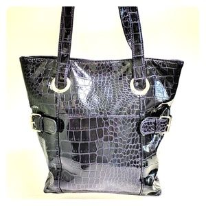 Handbags - Shiny purple moc croc purse tote shoulder bag